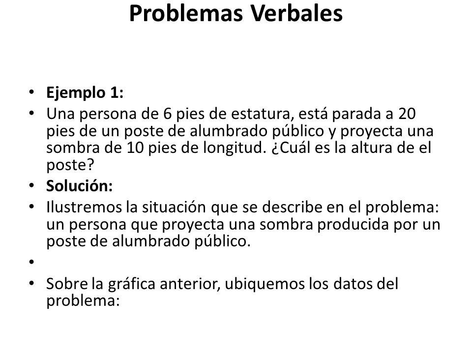 Problemas Verbales Ejemplo 1: