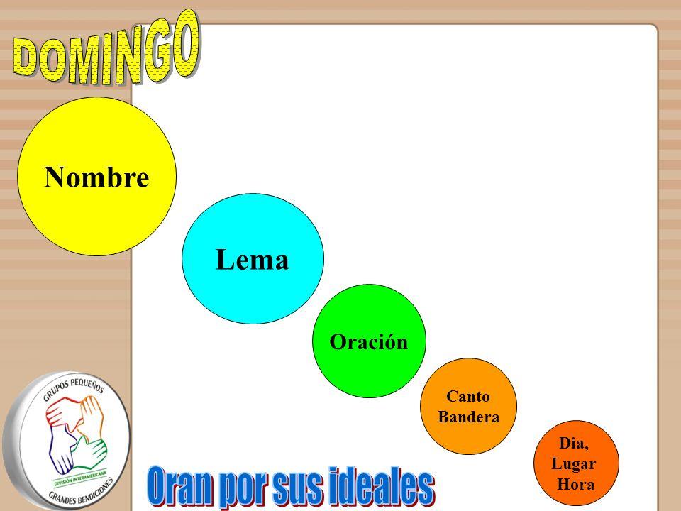 DOMINGO Oran por sus ideales Nombre Lema Oración Canto Bandera Dia,