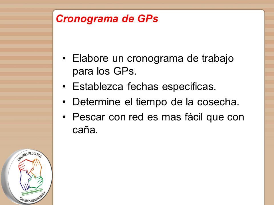 Cronograma de GPs Elabore un cronograma de trabajo para los GPs. Establezca fechas especificas. Determine el tiempo de la cosecha.