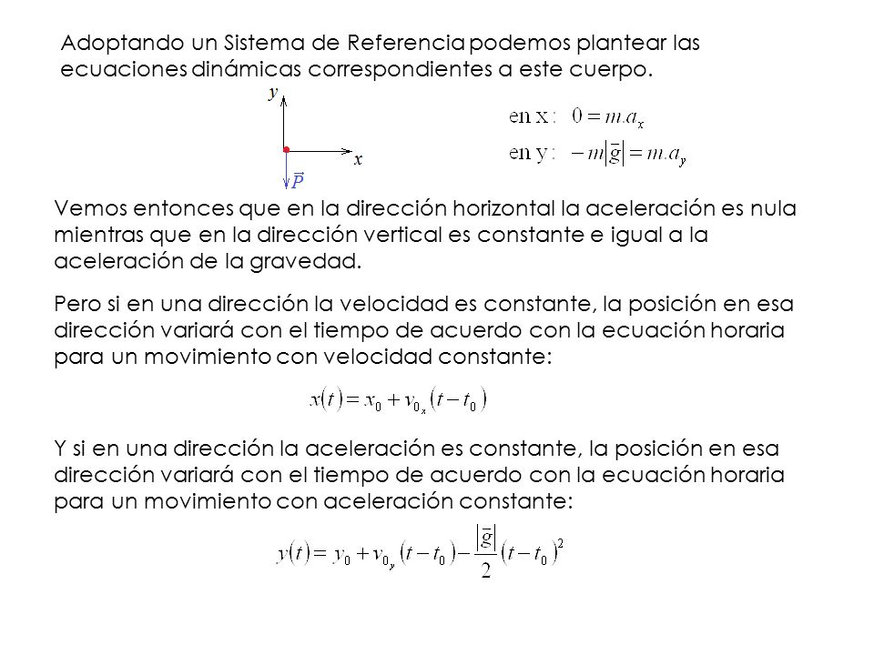 Adoptando un Sistema de Referencia podemos plantear las ecuaciones dinámicas correspondientes a este cuerpo.