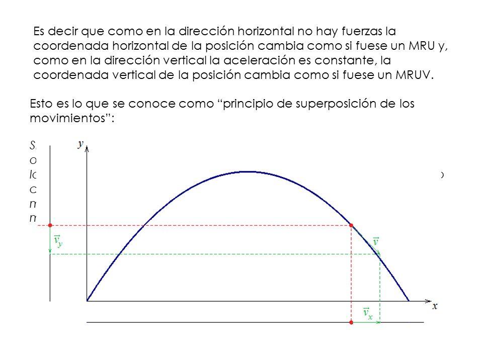 Es decir que como en la dirección horizontal no hay fuerzas la coordenada horizontal de la posición cambia como si fuese un MRU y, como en la dirección vertical la aceleración es constante, la coordenada vertical de la posición cambia como si fuese un MRUV.