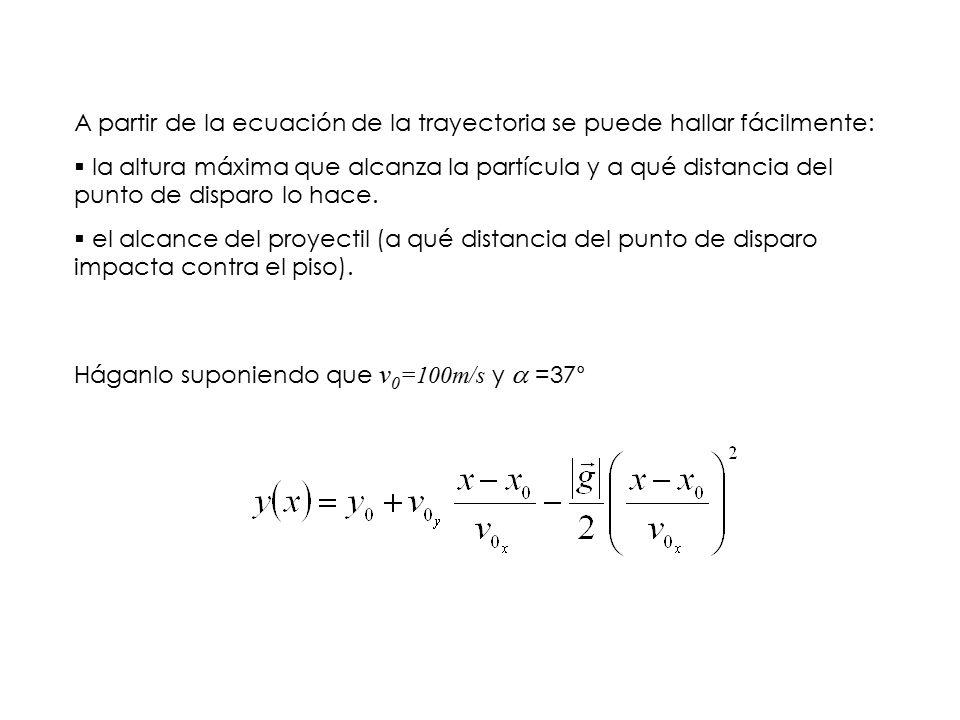 A partir de la ecuación de la trayectoria se puede hallar fácilmente: