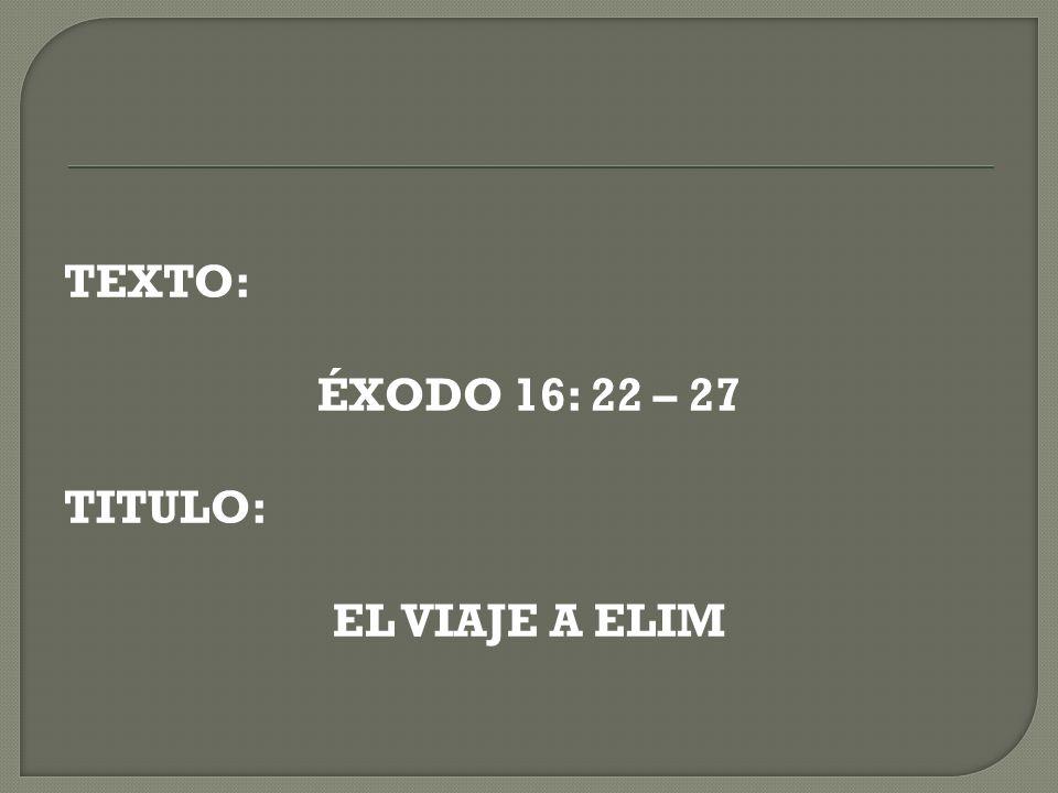 TEXTO: ÉXODO 16: 22 – 27 TITULO: EL VIAJE A ELIM