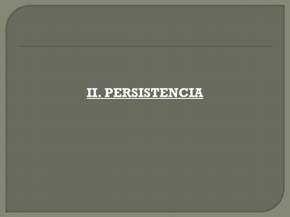 II. PERSISTENCIA