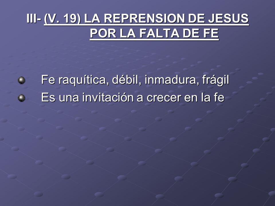 III- (V. 19) LA REPRENSION DE JESUS POR LA FALTA DE FE