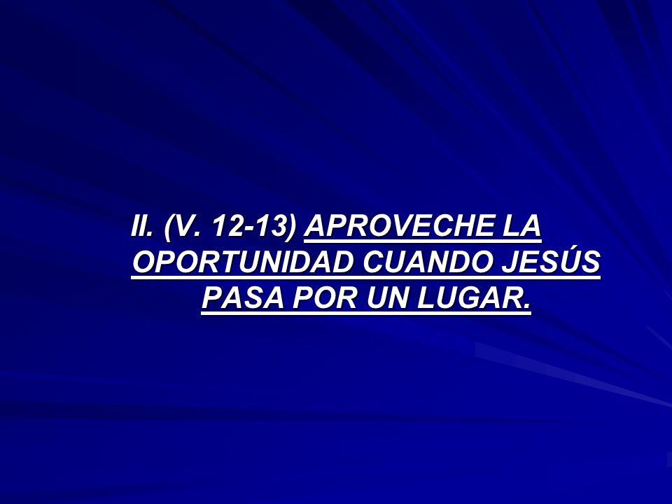 II. (V. 12-13) APROVECHE LA OPORTUNIDAD CUANDO JESÚS PASA POR UN LUGAR.