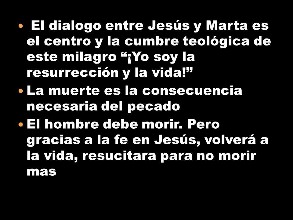 El dialogo entre Jesús y Marta es el centro y la cumbre teológica de este milagro ¡Yo soy la resurrección y la vida!