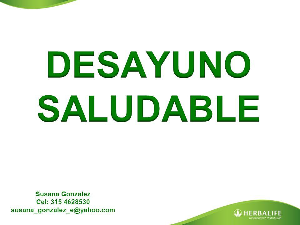 DESAYUNO SALUDABLE Susana Gonzalez Cel: 315 4628530