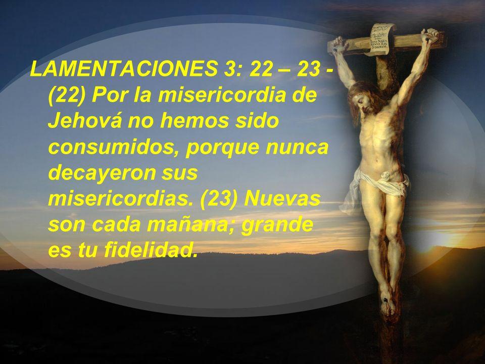 LAMENTACIONES 3: 22 – 23 - (22) Por la misericordia de Jehová no hemos sido consumidos, porque nunca decayeron sus misericordias.