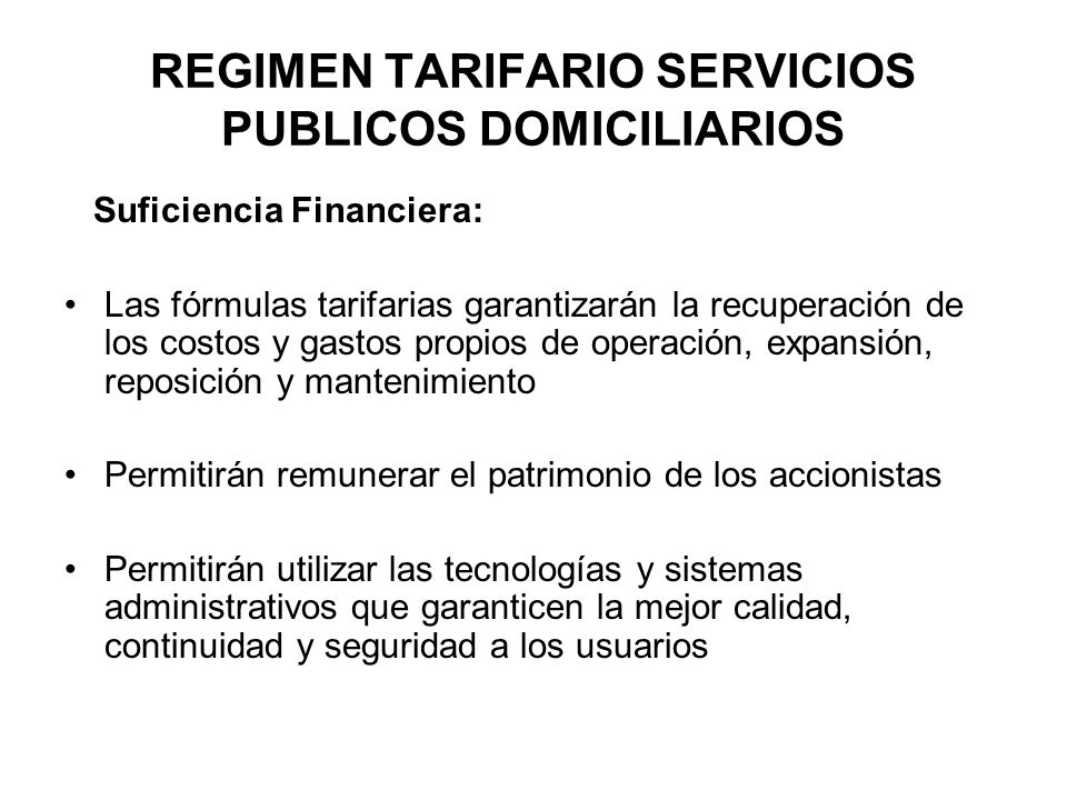 REGIMEN TARIFARIO SERVICIOS PUBLICOS DOMICILIARIOS