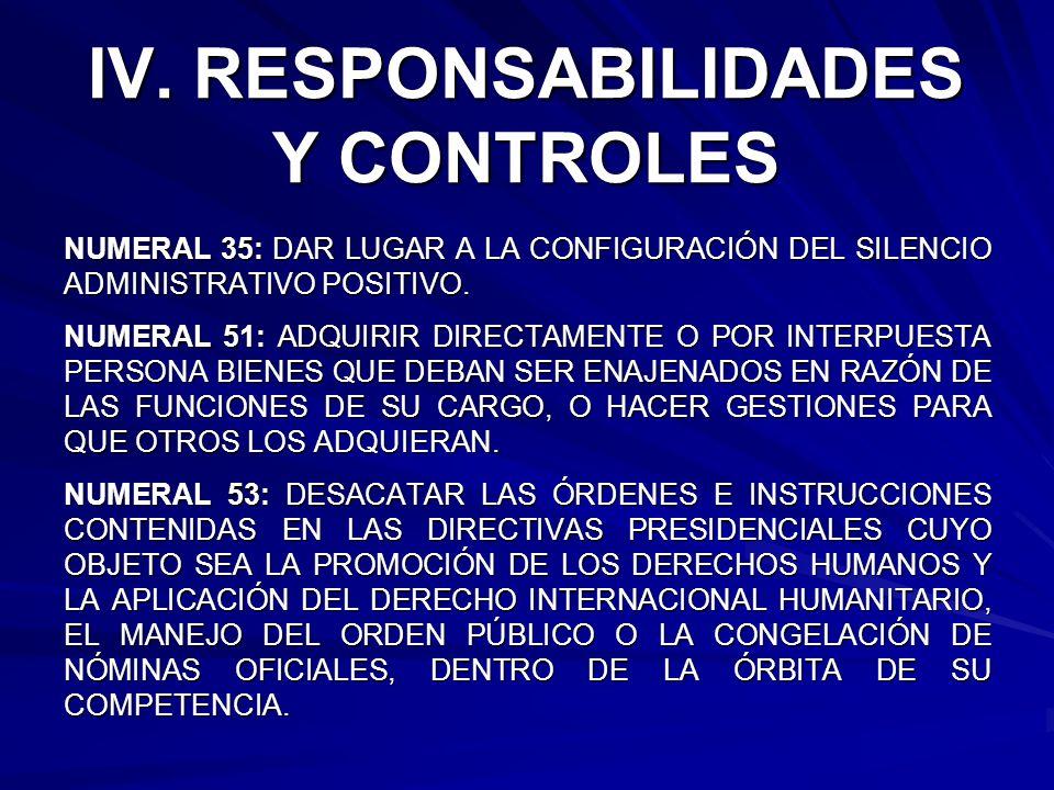 IV. RESPONSABILIDADES Y CONTROLES
