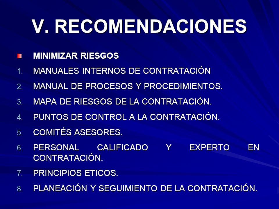 V. RECOMENDACIONES MINIMIZAR RIESGOS MANUALES INTERNOS DE CONTRATACIÓN