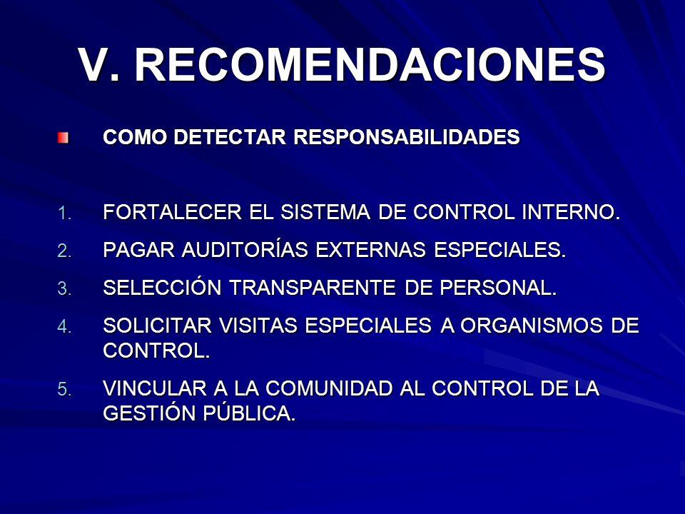 V. RECOMENDACIONES COMO DETECTAR RESPONSABILIDADES