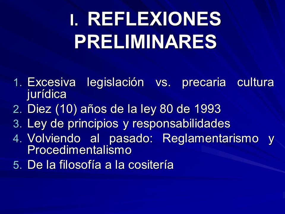 I. REFLEXIONES PRELIMINARES