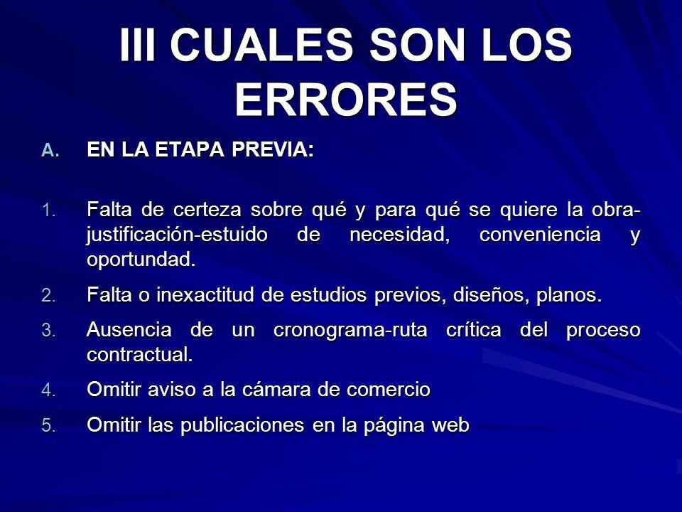 III CUALES SON LOS ERRORES