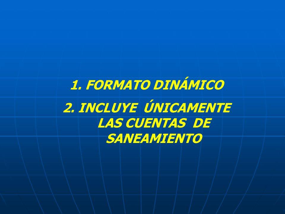 2. INCLUYE ÚNICAMENTE LAS CUENTAS DE SANEAMIENTO