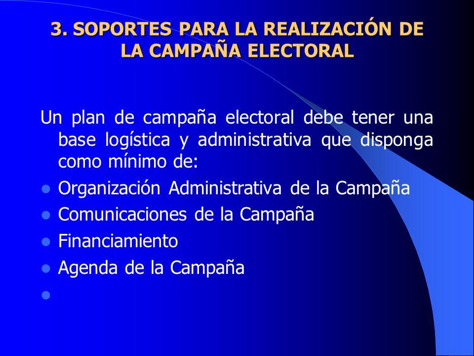 3. SOPORTES PARA LA REALIZACIÓN DE LA CAMPAÑA ELECTORAL
