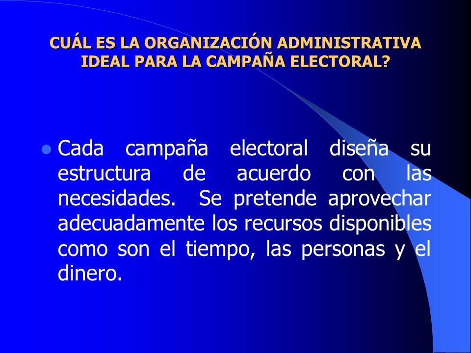 CUÁL ES LA ORGANIZACIÓN ADMINISTRATIVA IDEAL PARA LA CAMPAÑA ELECTORAL