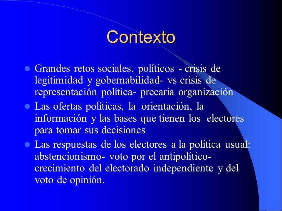 Contexto Grandes retos sociales, políticos - crisis de legitimidad y gobernabilidad- vs crisis de representación política- precaria organización.