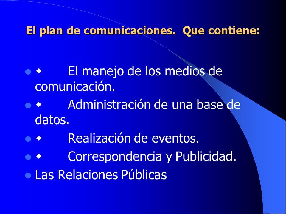 El plan de comunicaciones. Que contiene: