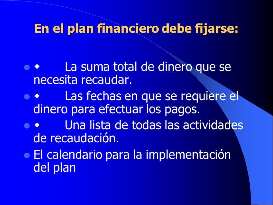 En el plan financiero debe fijarse: