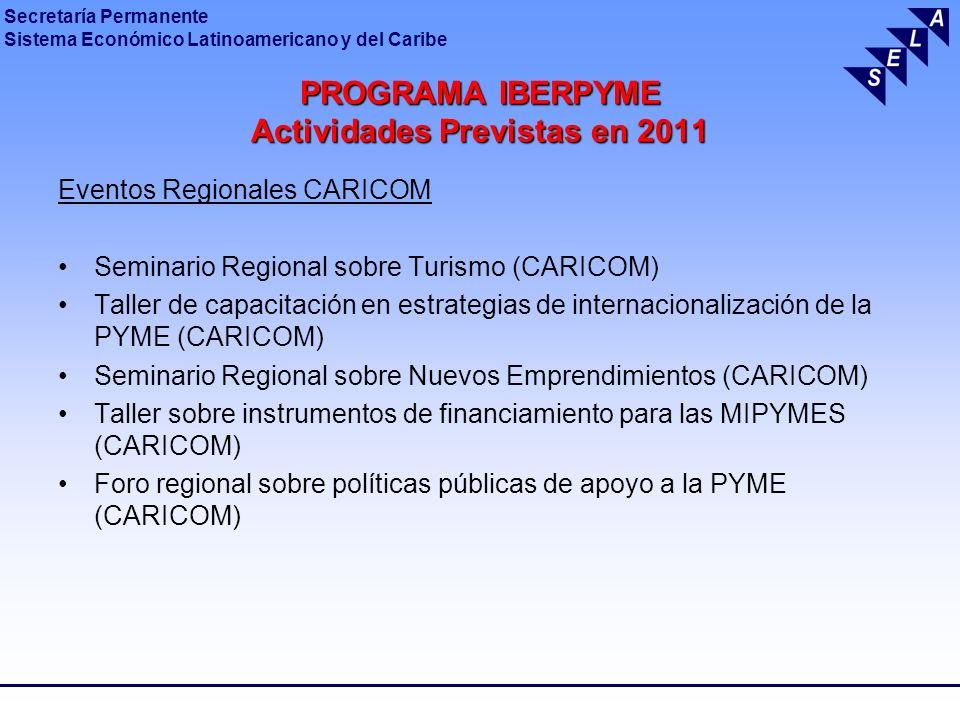 PROGRAMA IBERPYME Actividades Previstas en 2011