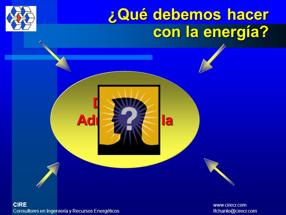¿Qué debemos hacer con la energía Debemos Administrar la Energía