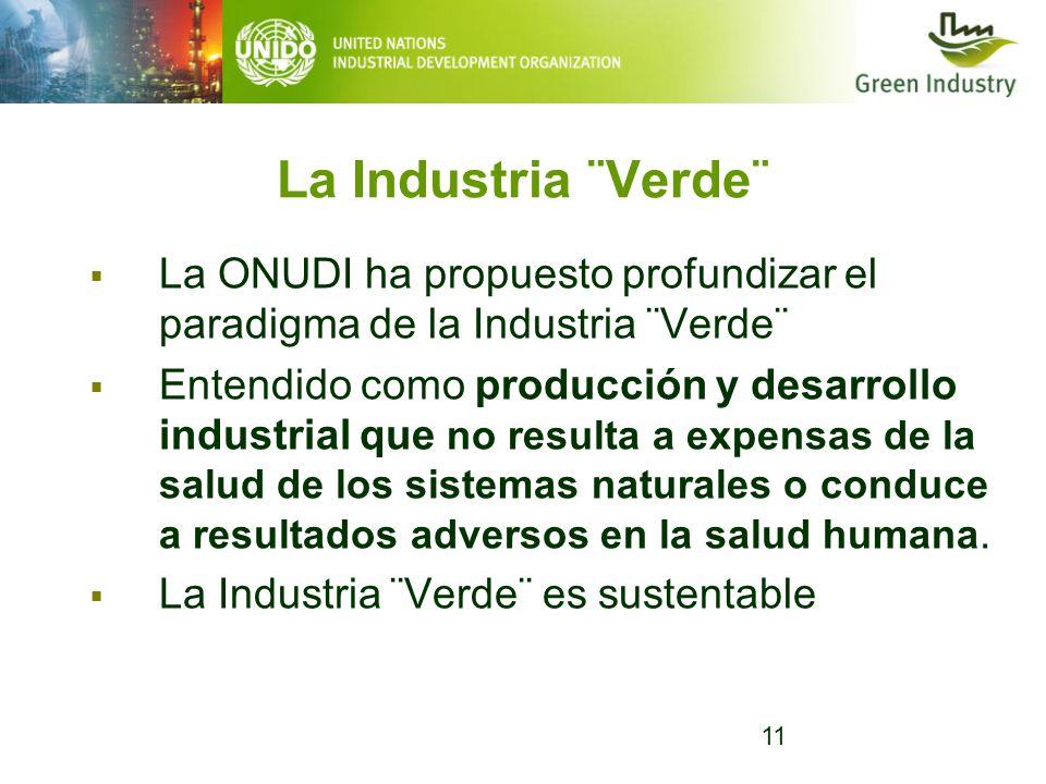 La Industria ¨Verde¨ La ONUDI ha propuesto profundizar el paradigma de la Industria ¨Verde¨