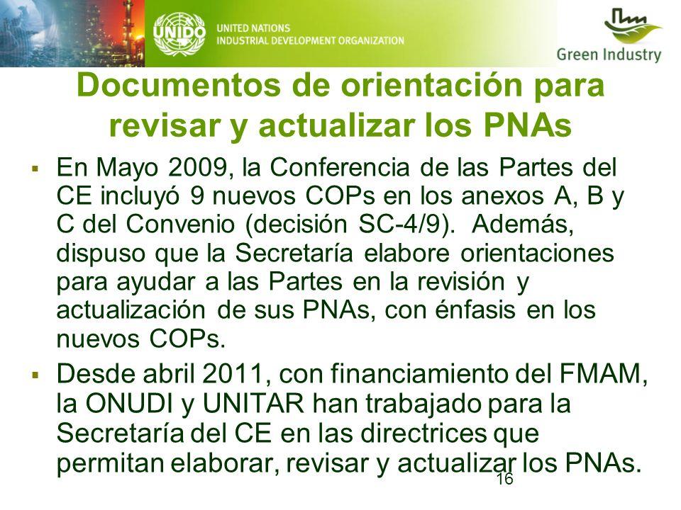 Documentos de orientación para revisar y actualizar los PNAs