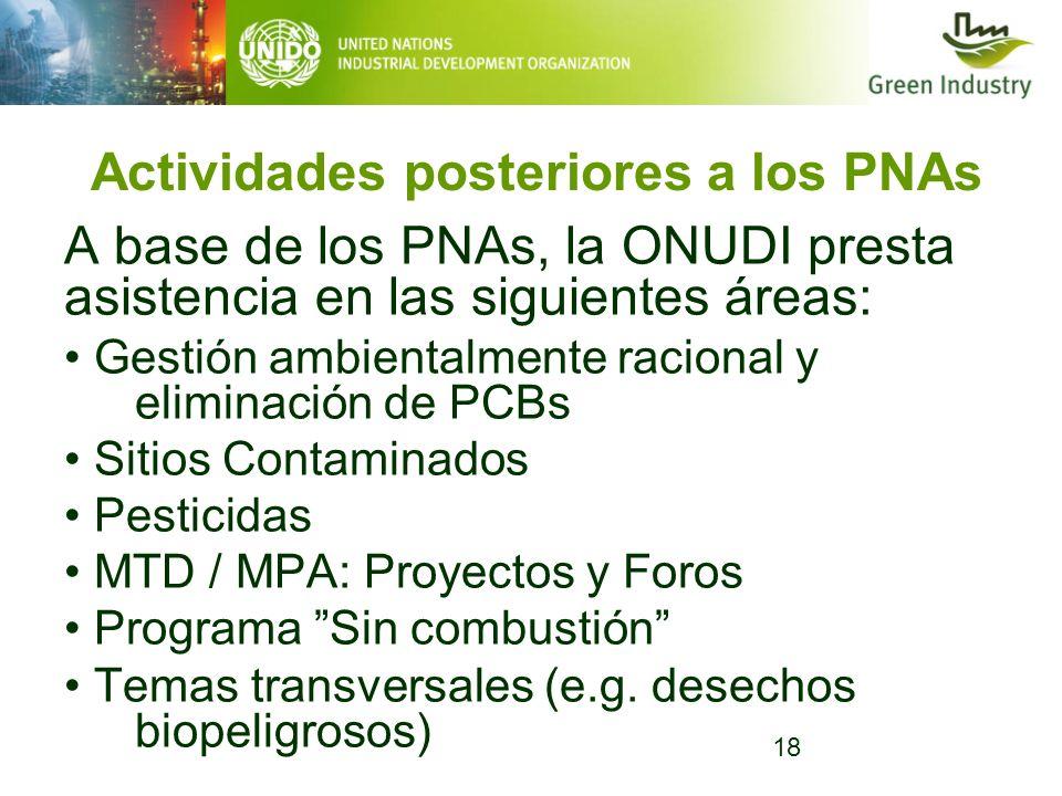Actividades posteriores a los PNAs