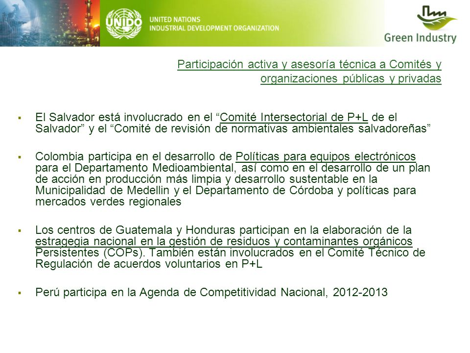 Participación activa y asesoría técnica a Comités y organizaciones públicas y privadas