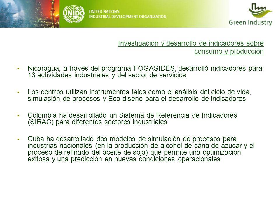 Investigación y desarrollo de indicadores sobre consumo y producción