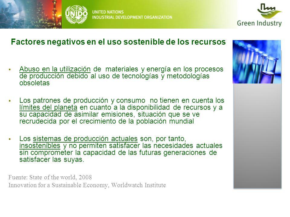Factores negativos en el uso sostenible de los recursos