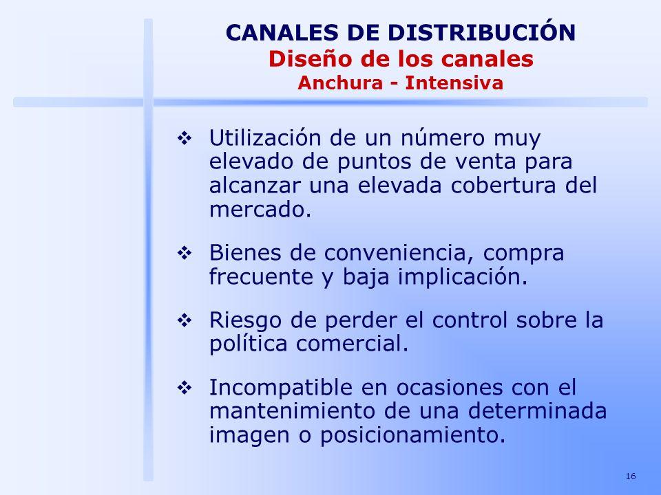 CANALES DE DISTRIBUCIÓN Diseño de los canales Anchura - Intensiva