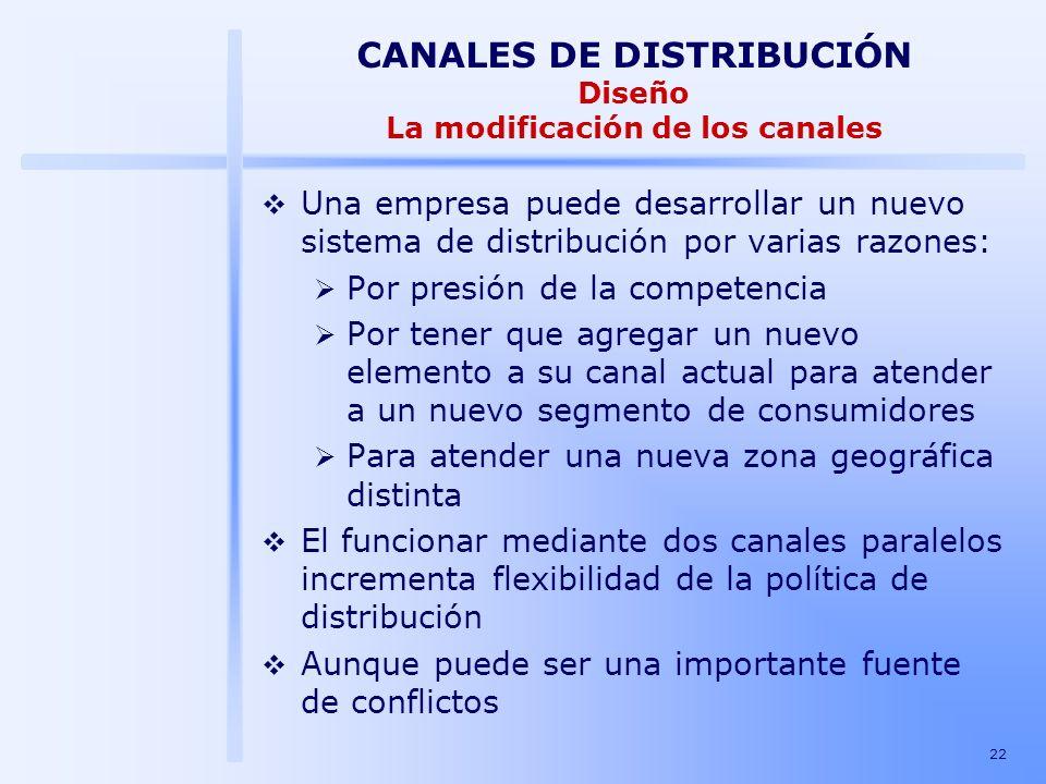 CANALES DE DISTRIBUCIÓN Diseño La modificación de los canales