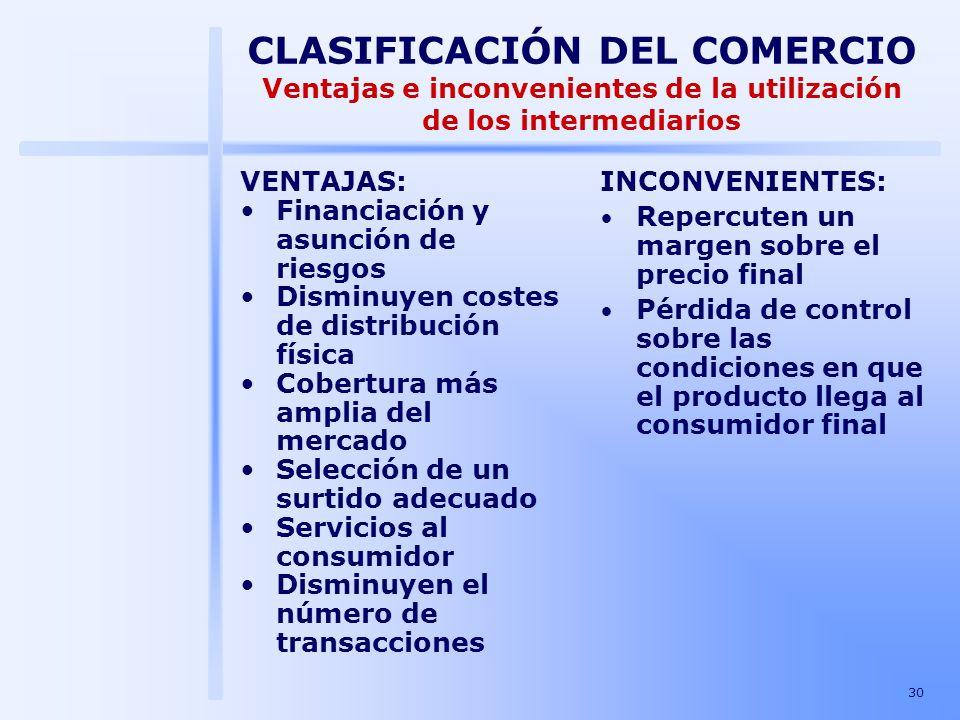 CLASIFICACIÓN DEL COMERCIO Ventajas e inconvenientes de la utilización de los intermediarios