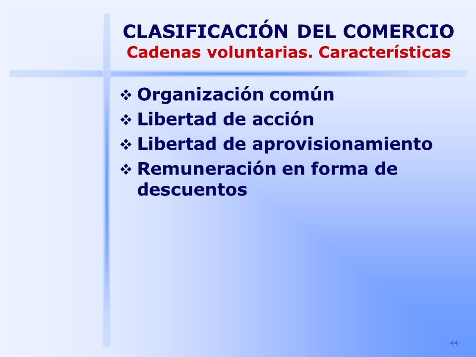 CLASIFICACIÓN DEL COMERCIO Cadenas voluntarias. Características