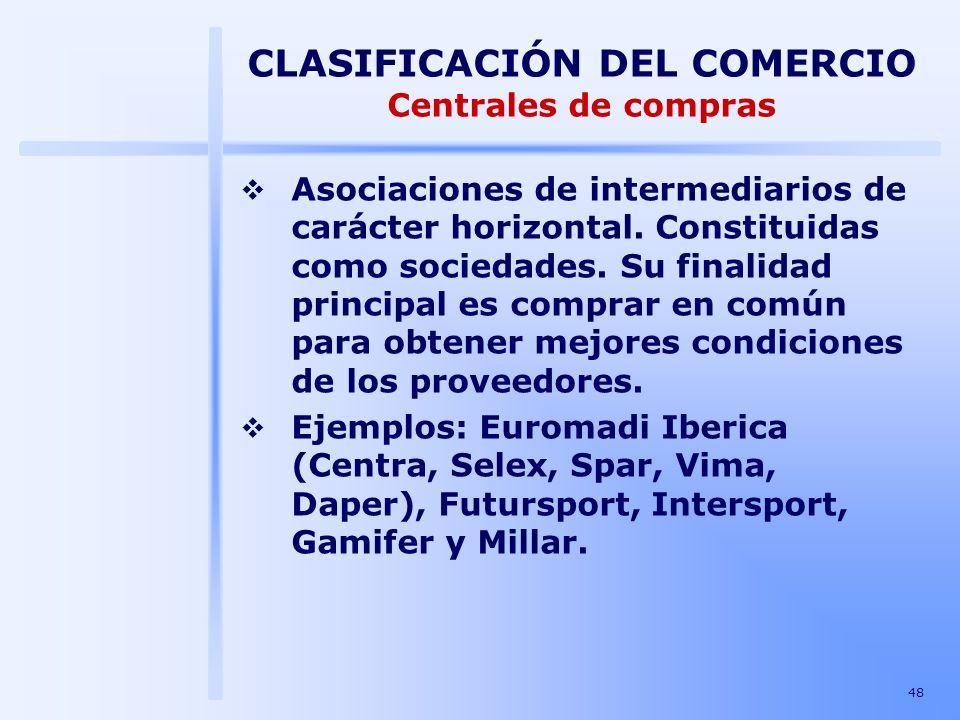 CLASIFICACIÓN DEL COMERCIO Centrales de compras