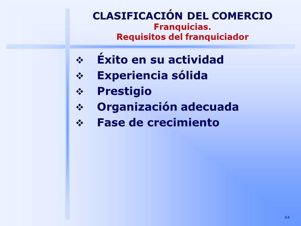 CLASIFICACIÓN DEL COMERCIO Franquicias. Requisitos del franquiciador