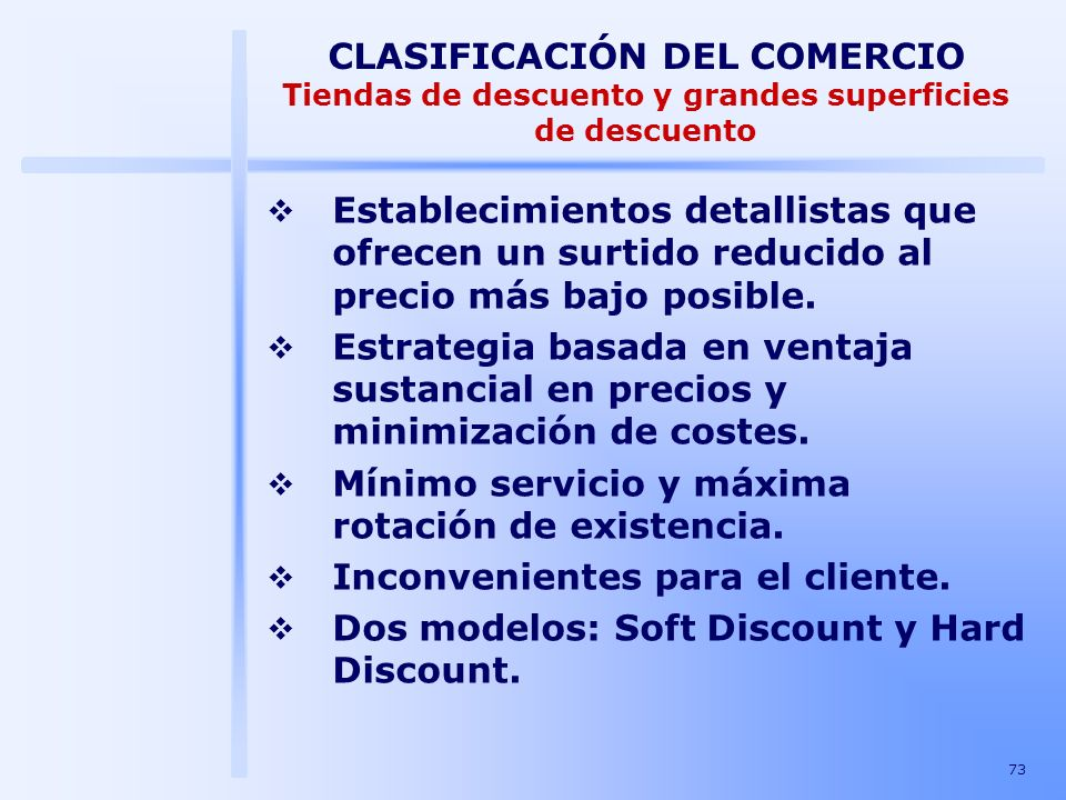 CLASIFICACIÓN DEL COMERCIO Tiendas de descuento y grandes superficies de descuento