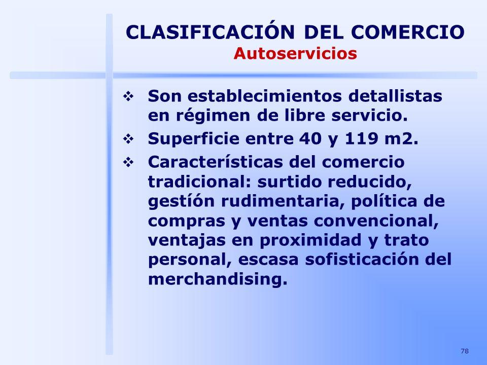 CLASIFICACIÓN DEL COMERCIO Autoservicios