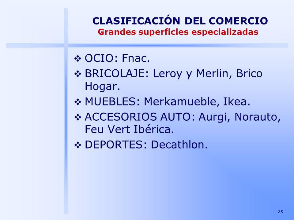 CLASIFICACIÓN DEL COMERCIO Grandes superficies especializadas
