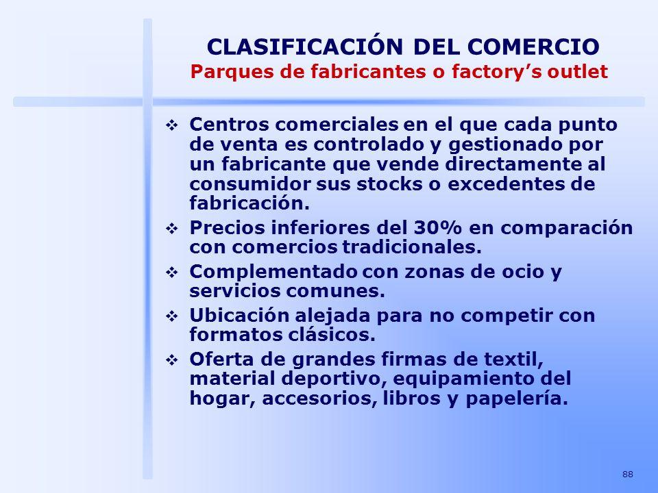 CLASIFICACIÓN DEL COMERCIO Parques de fabricantes o factory's outlet