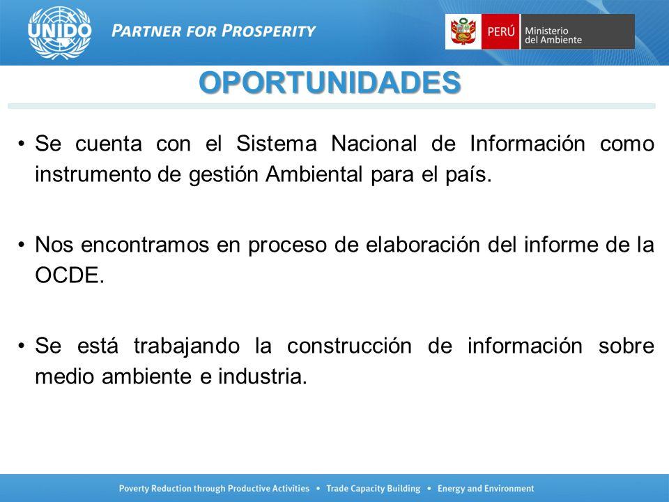 OPORTUNIDADES Se cuenta con el Sistema Nacional de Información como instrumento de gestión Ambiental para el país.