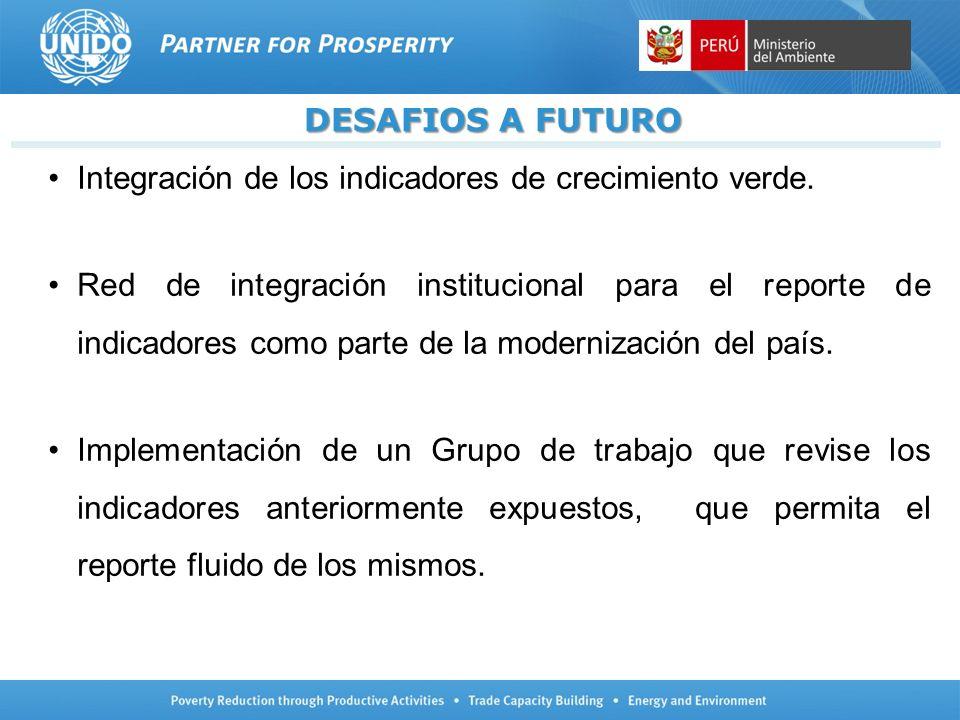 DESAFIOS A FUTURO Integración de los indicadores de crecimiento verde.
