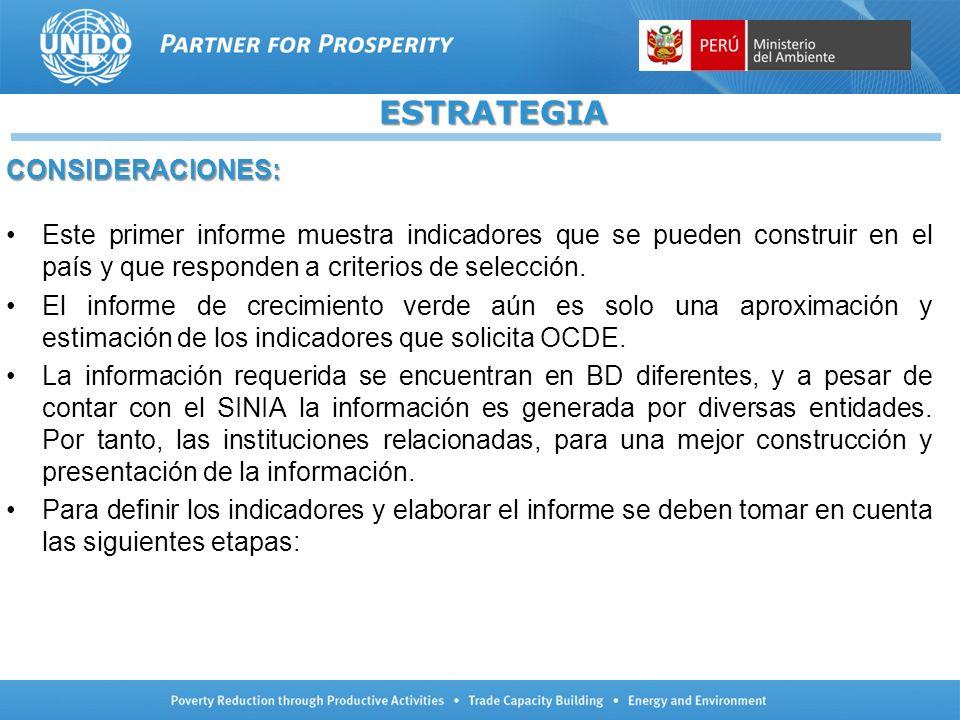 ESTRATEGIA CONSIDERACIONES: