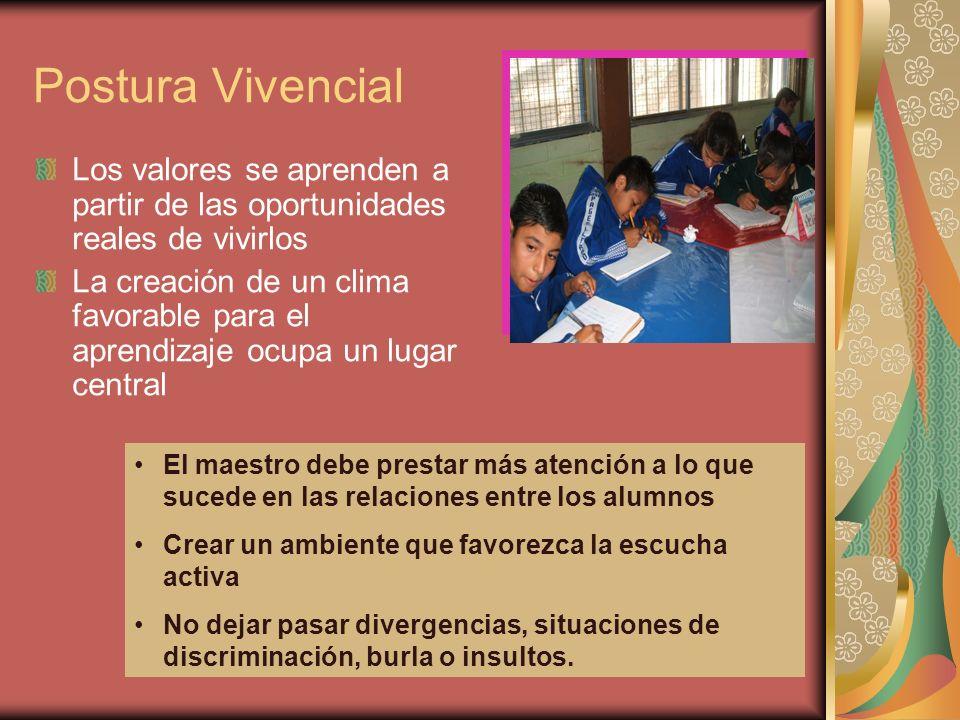 Postura Vivencial Los valores se aprenden a partir de las oportunidades reales de vivirlos.
