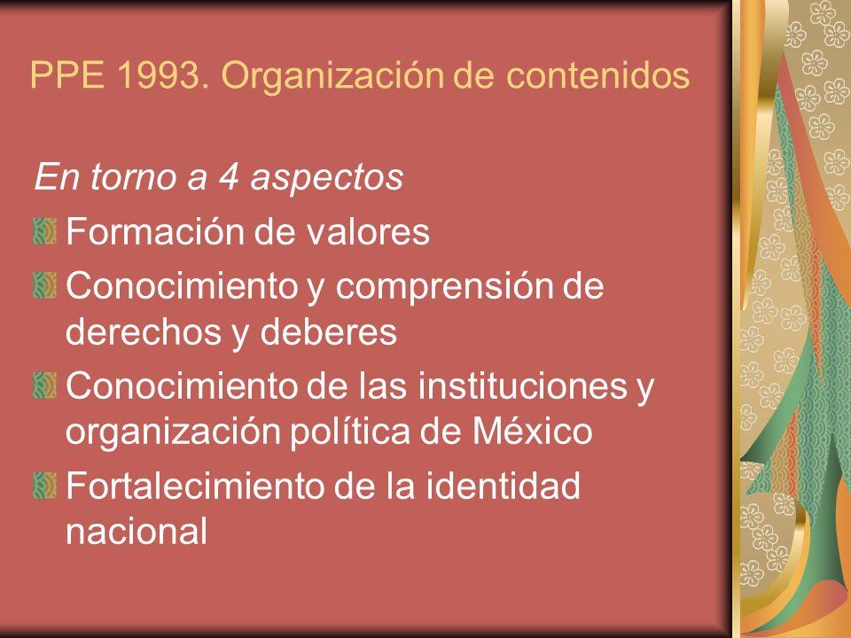 PPE 1993. Organización de contenidos