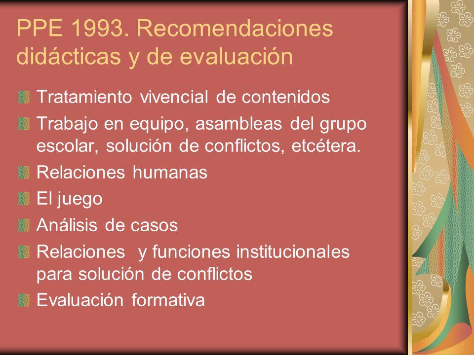 PPE 1993. Recomendaciones didácticas y de evaluación