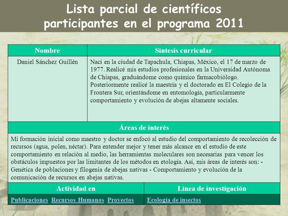 Lista parcial de científicos participantes en el programa 2011